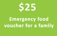 $25 emergency food voucher for a family
